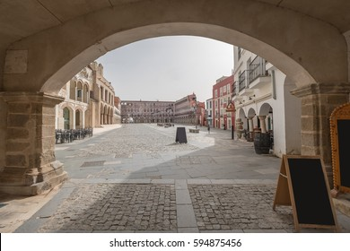 View from entrance arch of High square (Plaza Alta, Badajoz), Spain
