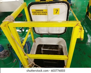 View of an entrance of confined space tank with signage of danger, confined space permit to work (PTW) required.