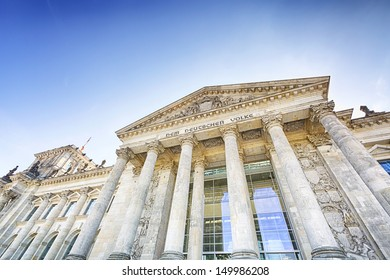 View of the entrance to the German parliament in Berlin - the Reichstag building.