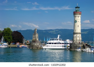 View of the entrance to the port of Lindau at Lake Constance. Bavaria, Germany.
