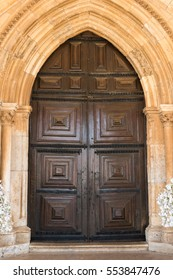 View of the entry arch of the Cathedral of Faro located in Faro, Algarve, Portugal. The Cathedral of Faro (Se de Faro) is a Roman Catholic cathedral.