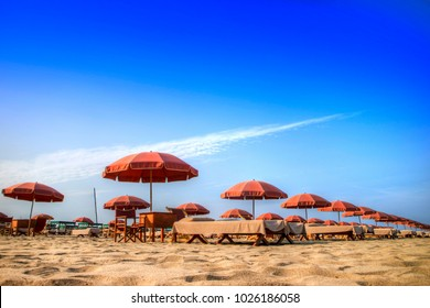 View of the equipped beach of Versilia Italy Europe