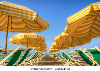 View of the equipped beach in Viareggio Italy Europe