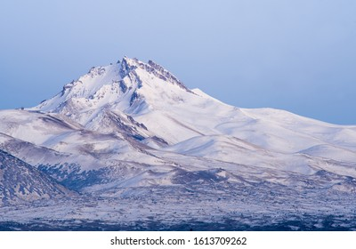 view of Erciyes mountain covered with snow