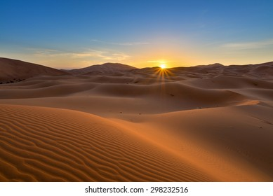 view of Erg Chebbi Dunes -  Sahara Desert - at sunrise, in Morocco