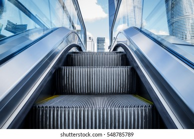 View of Escalator in an underground station of China.