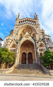 View of Esglesia de Sant Bartomeu, Soller in Majorca, Spain
