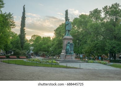 View of the Esplanade Park and the Runeberg Statue, at sunset, in Helsinki, Finland