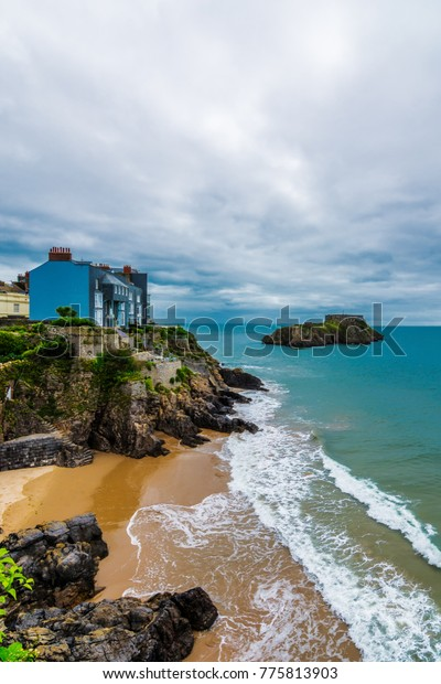 View from the esplanade of south bay on the Pembrokeshire coast, Tenby, Wales.