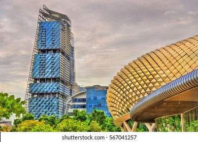 View of Esplanade Theaters and other buildings in Singapore city centre