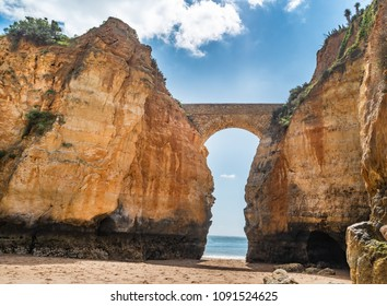 View to Estudantes beach in Lagos, Algarve, Portugal.