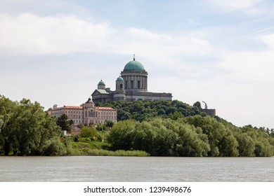 View of the Esztergom Basilica at the Castle Hill from the opposite bank of Danube, Hungary. The Latin motto on the temple frieze reads: Seek those things which are above. It's a World Herotage Site.