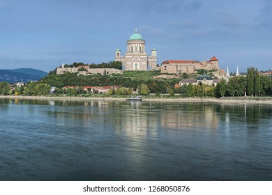 View of the Esztergom Basilica at the Castle Hill from the opposite bank of Danube, Hungary. The Latin motto on the temple frieze reads: Seek those things which are above.