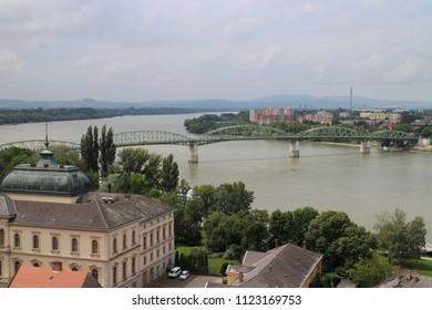 View from Esztergom Basilica to Maria Valeria bridge in Esztergom, Ostrihom, Hungary