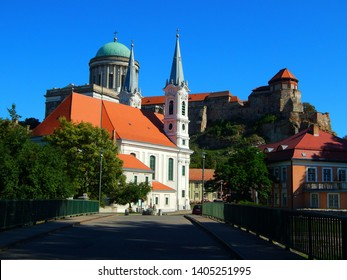 View of the Esztergom Basilica and the two-tower church of St. Ignatius of Loyola, behind the bridge in Esztergom, Hungary