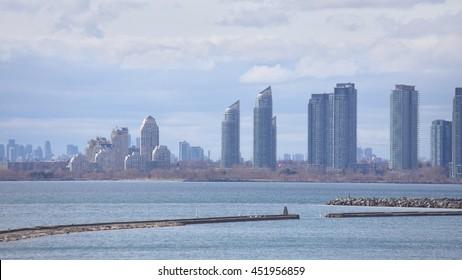 View of Etobicoke new developments from Ontario place inToronto, Ontario