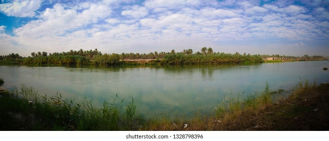 View to Euphrates river from former Saddam Hussein palace at Hillah, Babyl, Iraq