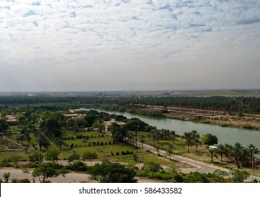 View to Euphrates river from former Saddam Hussein palace, Hillah, Babyl, Iraq