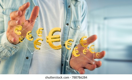 View of a Euro sign flying around a network connection - 3d render