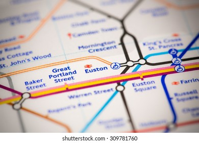 View of Euston station on a London subway map.