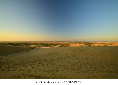 View from the evening barchan Sarykum with green desert plants and yellow-golden sand and the Caucasus Mountains in Dagestan in the Caucasus