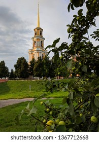 view of the evening Cathedral bell tower, Ryazan Kremlin, Golden ring of Russia, Ryazan, Russia