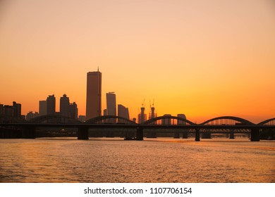 View of the Evening Seoul City from Han River Cruise Ship