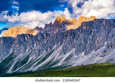 View of the evening sunlight on the Dolomites mountain at Giau Pass in Belluno Italy