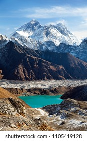 View of Everest, Lhotse, Ngozumba glacier and Gokyo Lake from Renjo La pass - way to Everest Base Camp, Three passes trek, Khumbu valley, Sagarmatha national park, Nepal himalayas mountains