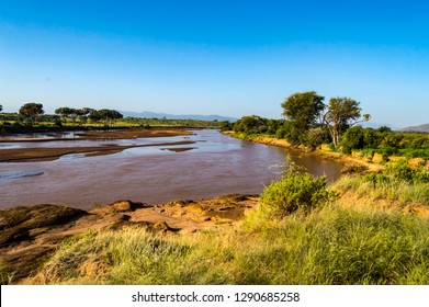 View of the Ewaso Ng'iro River in the savannah of Samburu Park in central Kenya