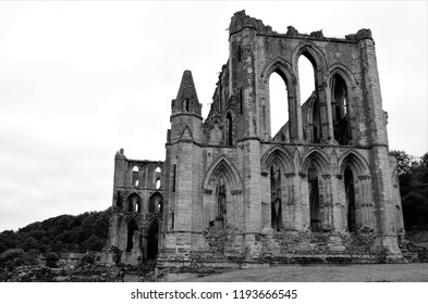 A view of the extensive ruins of the medieval Rievaulx abbey in North Yorkshire