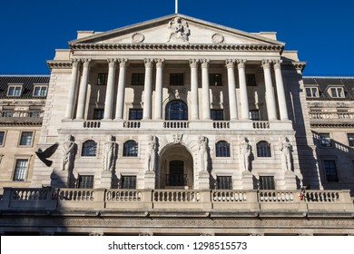 A view of the exterior of The Bank of England - the central bank of the UK, in London, England.