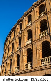 A view of the exterior of the Bullring of Valencia, also known as the Plaza de Toros de Valencia, in the the historic city of Valencia in Spain.