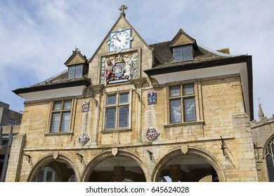 A view of the exterior of the Guildhall or also known as Butter Cross situated in Cathedral Square in Peterborough, UK.
