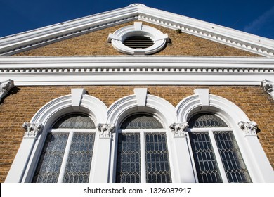 A view of the exterior of Herne Bay Baptist Church, located on the High Street in the coastal town of Herne Bay in Kent, England.