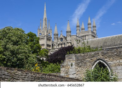 A view of the exterior of Peterborough Cathedral in the historic city of Peterborough in Cambridgeshire, UK.