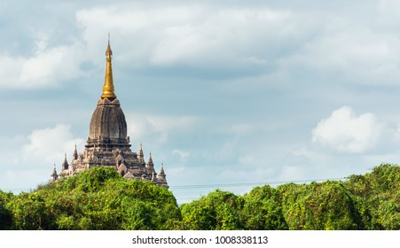 View of the facade of the building of the Shwegugyi temple in Bagan, Myanmar. Copy space for text