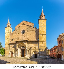 View at the facade Cathedral of Saint Domninus (San Donnino) of Fidenza - Italy