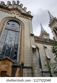view of the facade of the catholic cathedral church in gothic style