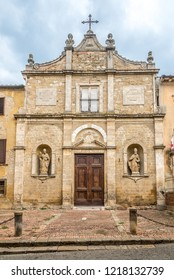 View at the facade church of Saint Pietro in Volterra, Italy