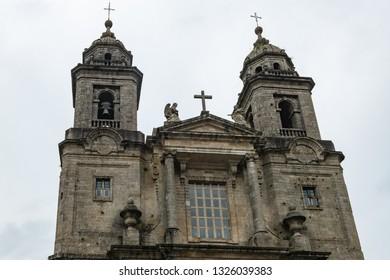 View of facade of Convent of San Francisco de Santiago in Santiago de Compostela.