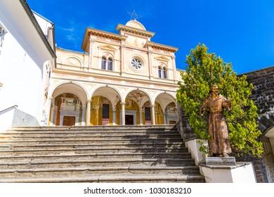 View of facade Madonna del Sasso Church,  in Locarno city on Lake Maggiore, in Ticino district, Switzerland.