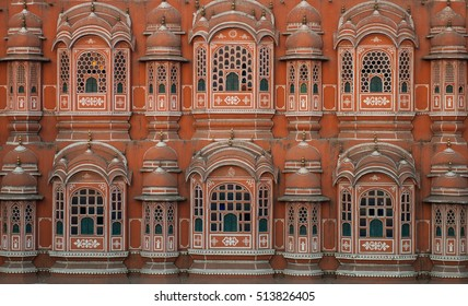 A view of the facade of a palace in India.