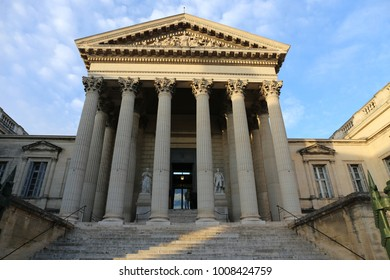 View of the facade of the palais de justice, palace of justice in english, of Montpellier France, located in Foch street. Historical building with 6 tall columns. Picture taken on 23 january 2018.