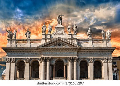 View at the facade of St. John Lateran's Basilica in Rome, Italy. It is the cathedral church of the Diocese of Rome and the official ecclesiastical seat of the Bishop of Rome, who is the Pope.