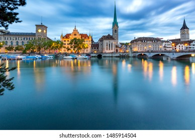 View of the facades of old medieval houses on the city promenade at dawn. Zurich. Switzerland.