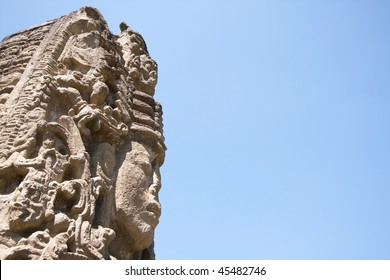 View of the face of Stela A, portraying the 13th King '18 Rabbit' at the ancient Mayan ruins of Copan. Honduras, Central America.