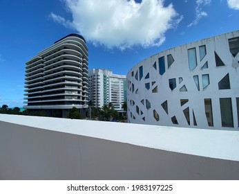 View of the Faena District buildings (Faena Hotel, Faena Residences and Faena Theater) in Miami Beach, Florida taken in May, 2021