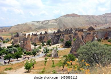 View of the Fairy Chimneys in Göreme National Park. Cappadocia, Central Anatolia, Turkey.