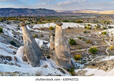 View of Fairy chimneys near Urgup in Cappadocia. Nevsehir Province. Turkey
